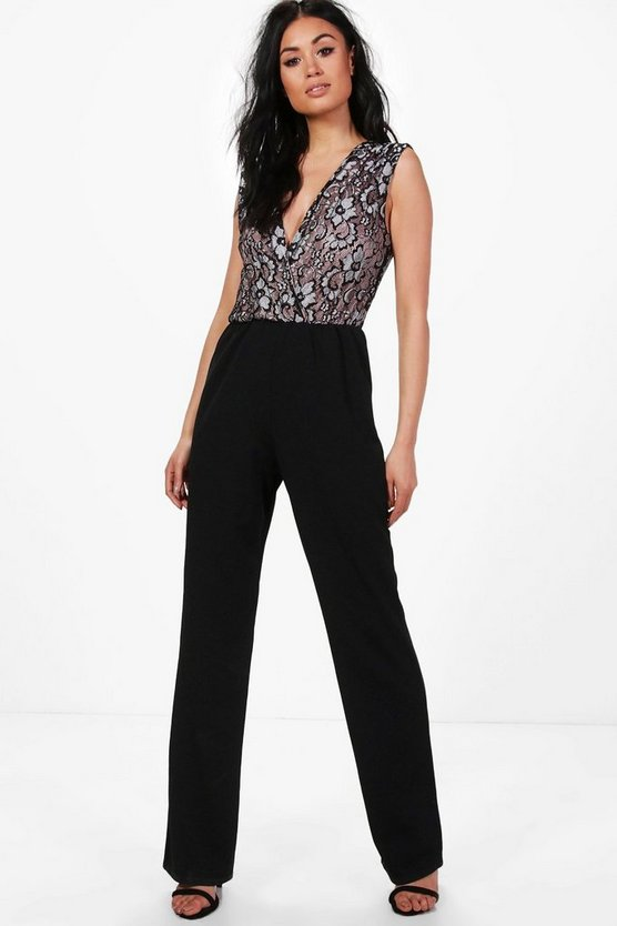 Jane Pleated Shoulder Lace Top Jumpsuit
