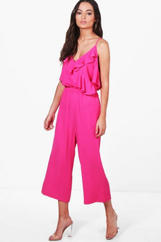 Debbi Cold Shoulder Ruffle Culotte Jumpsuit