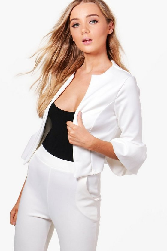 Harriet Ruffle Sleeve Collarless Blazer