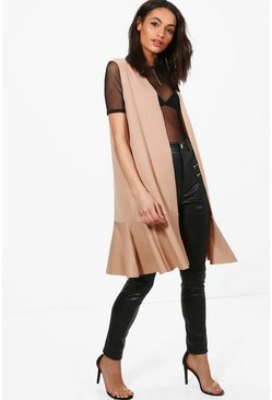 Karina Sleeveless Frill Hem Duster