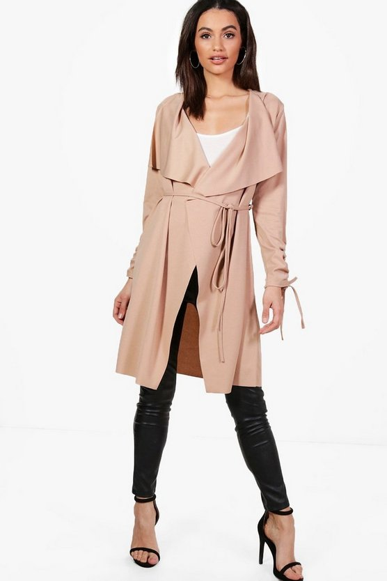 Rebecca Ruched Sleeve Belted Duster