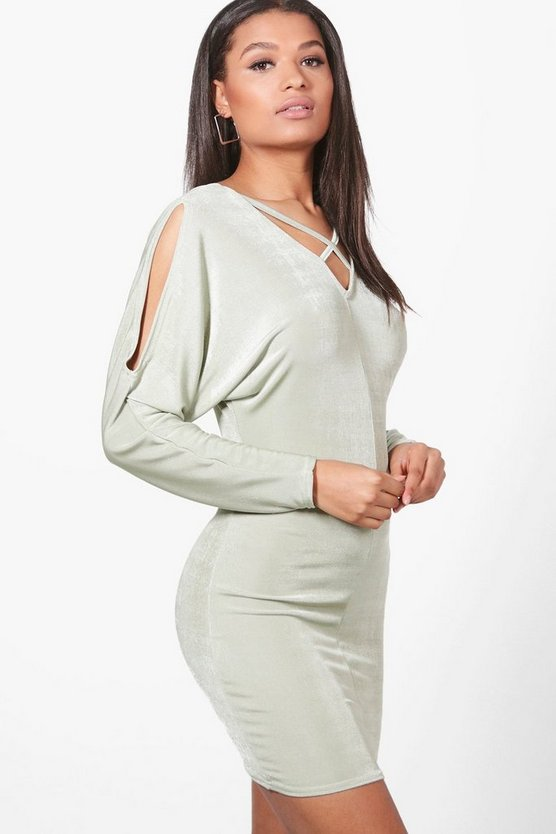 Maria Open Shoulder Textured Slinky Bodycon Dress