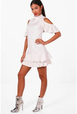 Leah Cold Shoulder Frill Hem Shift Dress