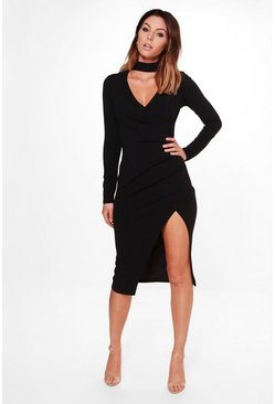 Anna Choker Wrap Long Sleeve Midi Dress