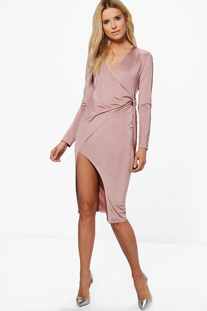 Emilt Slinky Long Sleeve Wrap Midi Dress
