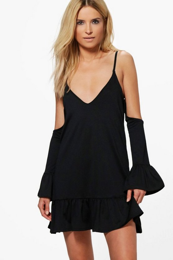 Lily Cold Shoulder Frill Hem Shift Dress