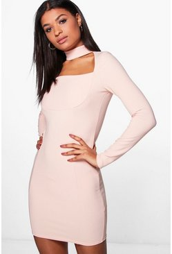 Molly Choker Seam Detail Long Sleeve Bodycon Dress