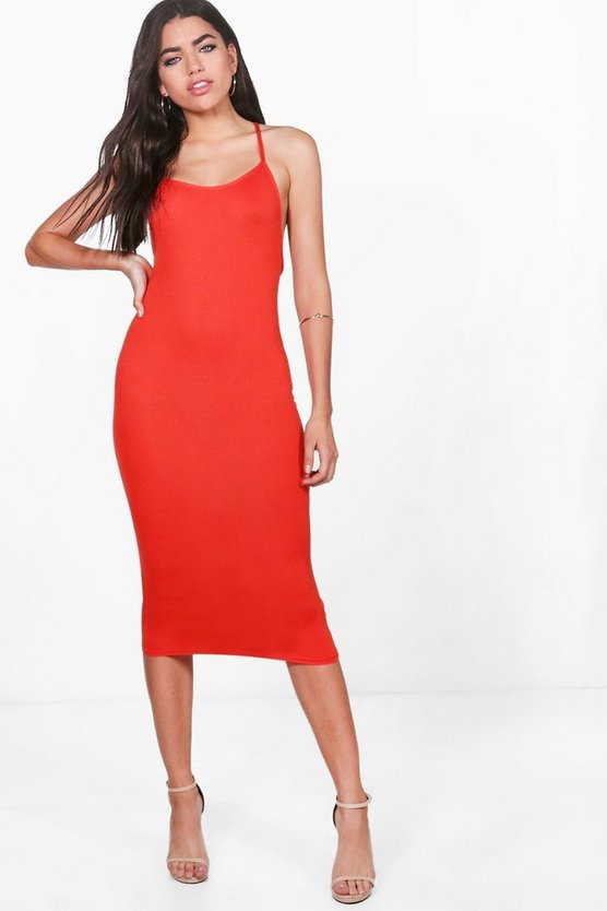 Brooke Strappy Back Detail Midi Dress