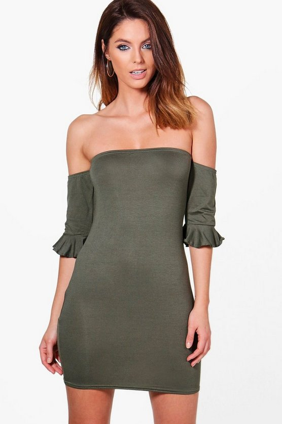 Georgia Off The Shoulder Frill Detail Bodycon Dress