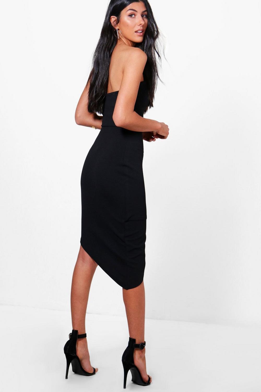 NEW-Boohoo-Womens-Niamh-Crepe-Bandeau-Asymmetric-Wrap-Midi-Dress-in-Polyester