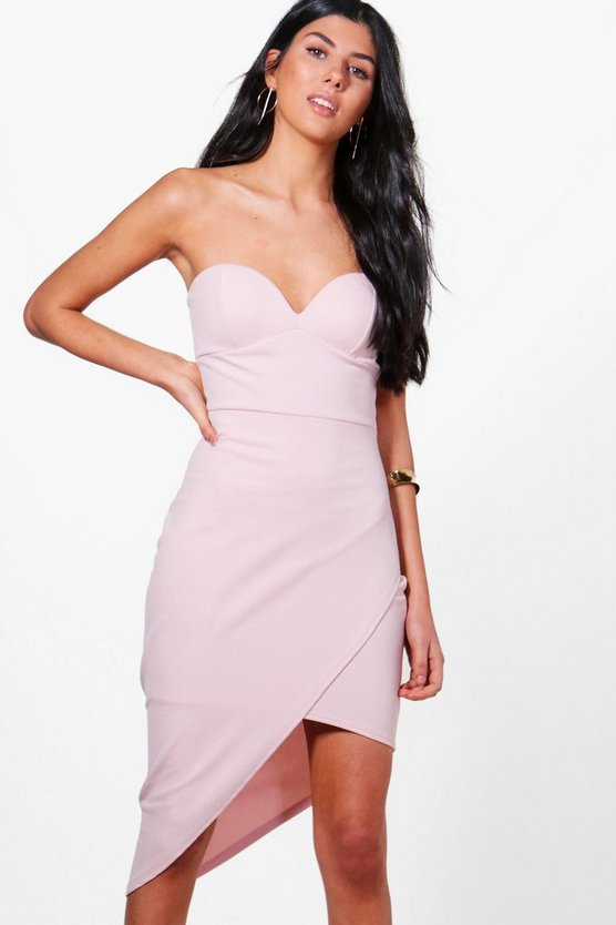 Niamh Crepe Bandeau Asymmetric Wrap Midi Dress