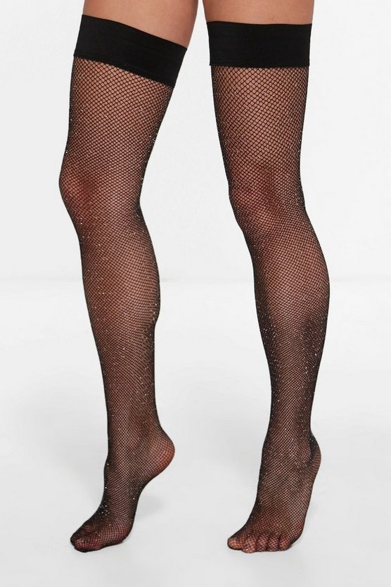 Amy Glitter Fishnet Hold Ups
