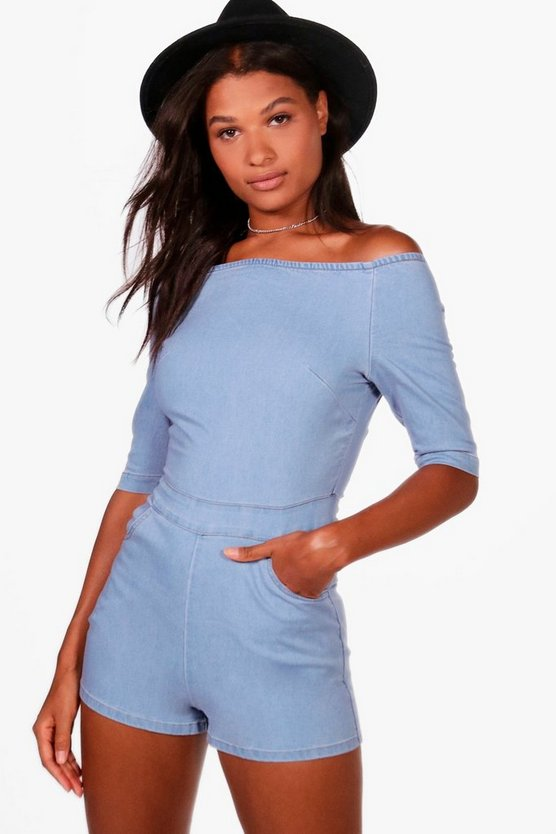 Burney Off The Shoulder Denim Playsuit