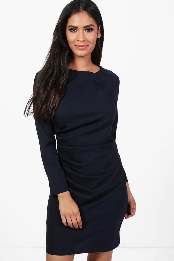 Georgia Ruched Scuba Crepe Midi Dress