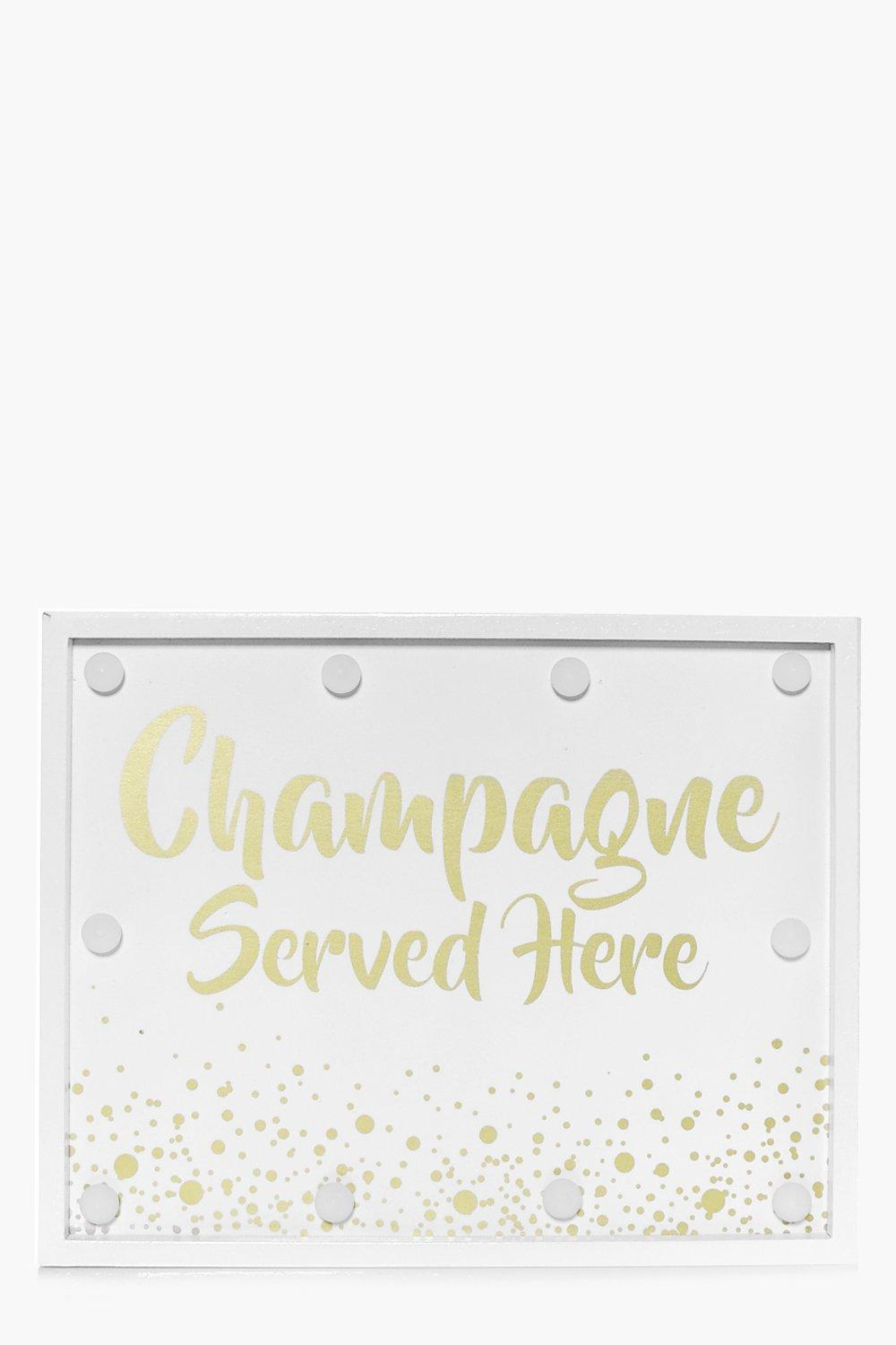 Served Here LED Light Box - white - Champagne Serv