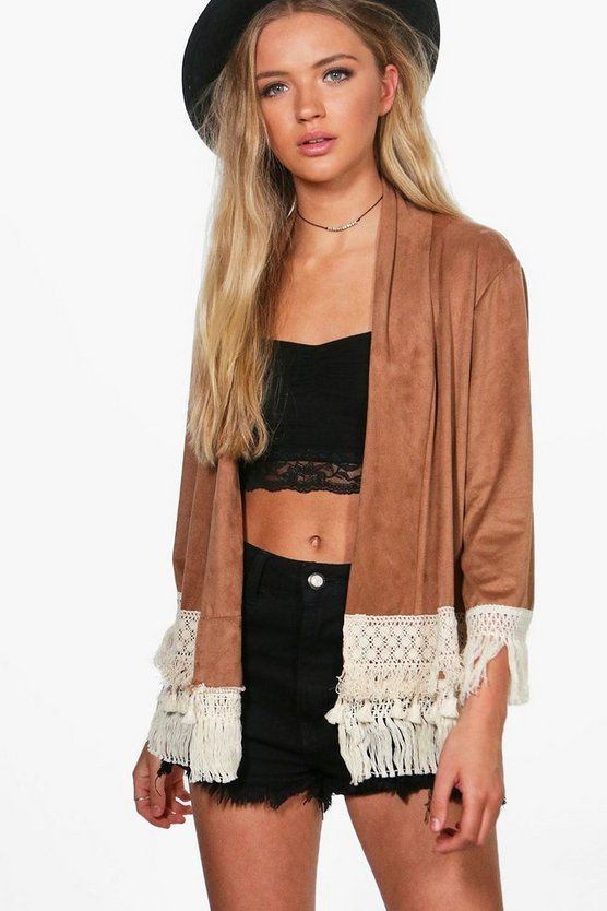 Louise Suedette Lace Trim Jacket
