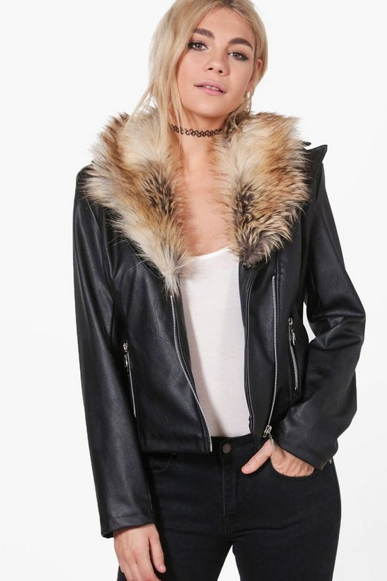 Jess Faux Fur Collar Biker