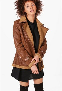 Lauren Faux Shearling Aviator Jacket