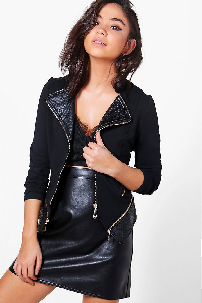 Amelia Quilted PU Trim Jacket