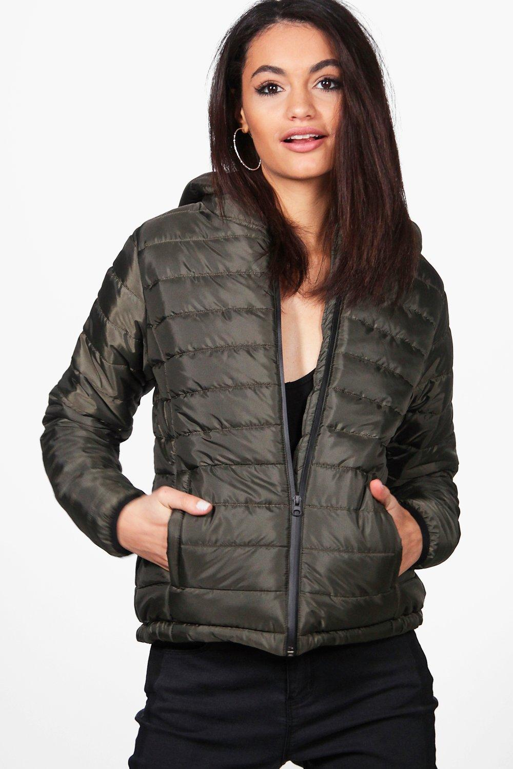 Quilted Hooded Coat  khaki