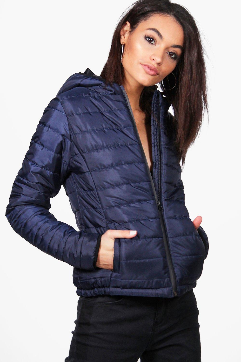 Quilted Hooded Coat  navy