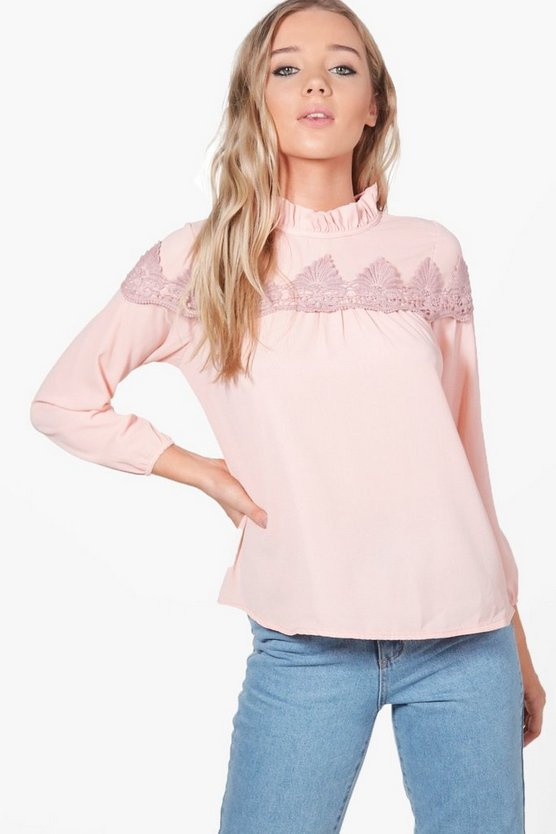 Lila Lace Ruffle Trim Blouse