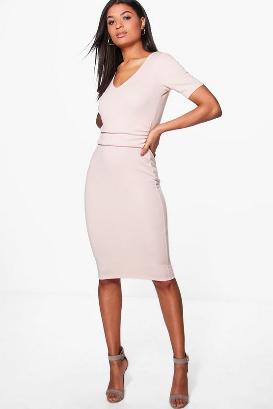 Jade Ruched Waist Tailored Midi Dress