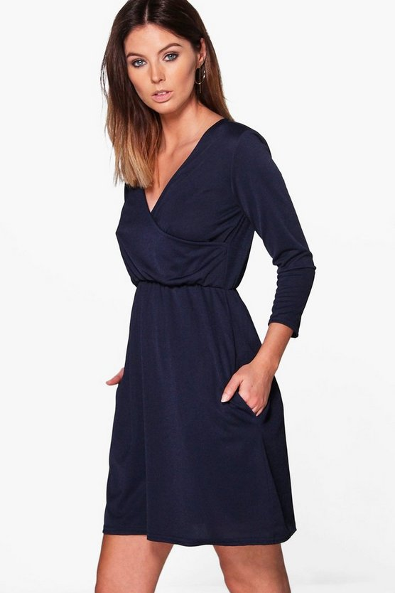 Jasmine Wrap Skater Dress With Pockets