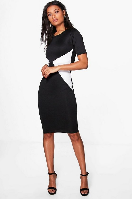 Belle Contrast Bodycon Midi Dress