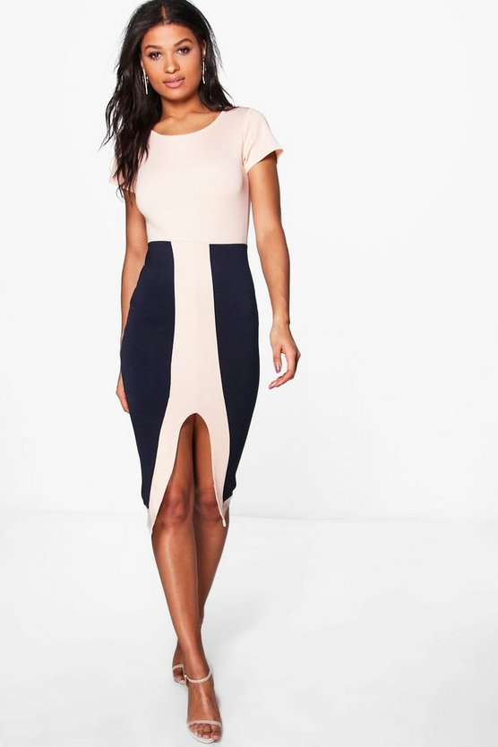 Freya Contrast Midi Split Dress