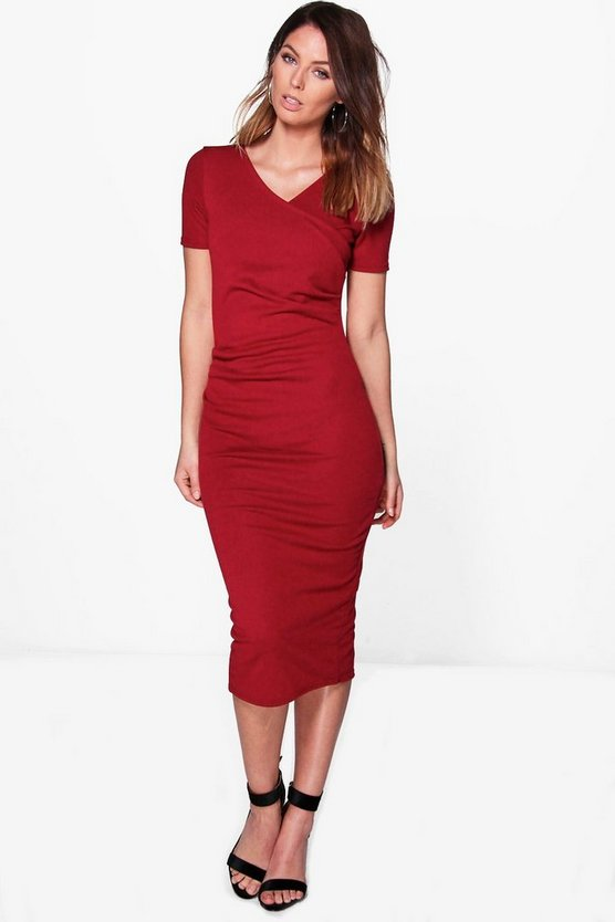 Olivia Wrap Ruched Midi Dress