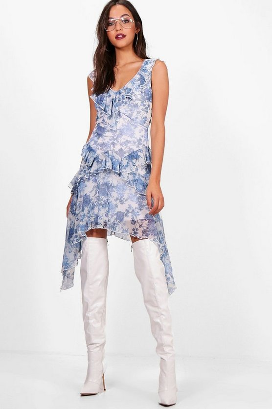 Isabelle Porcelain Print Ruffle Dress