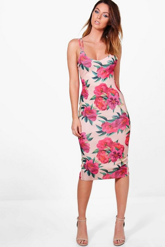 Hannah Floral Strappy Midi Dress