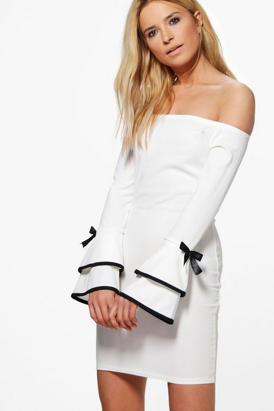 Abigail Off Shoulder Frill Sleeve Detail Bodycon