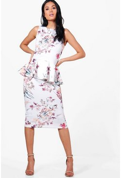 Nora Floral Peplum Midi Dress