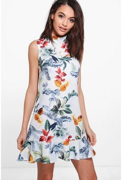 Ellie High Neck Floral Frill Hem Sleeveless Shift Dress