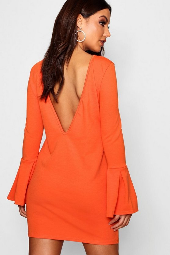 Mila Low Back Flute Sleeve Shift Dress