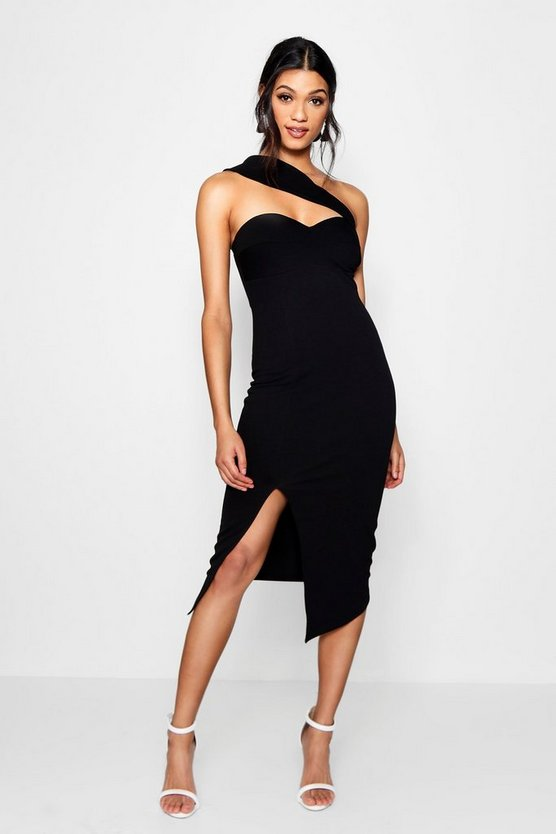 Shoulder Strap Detail Midi Dress