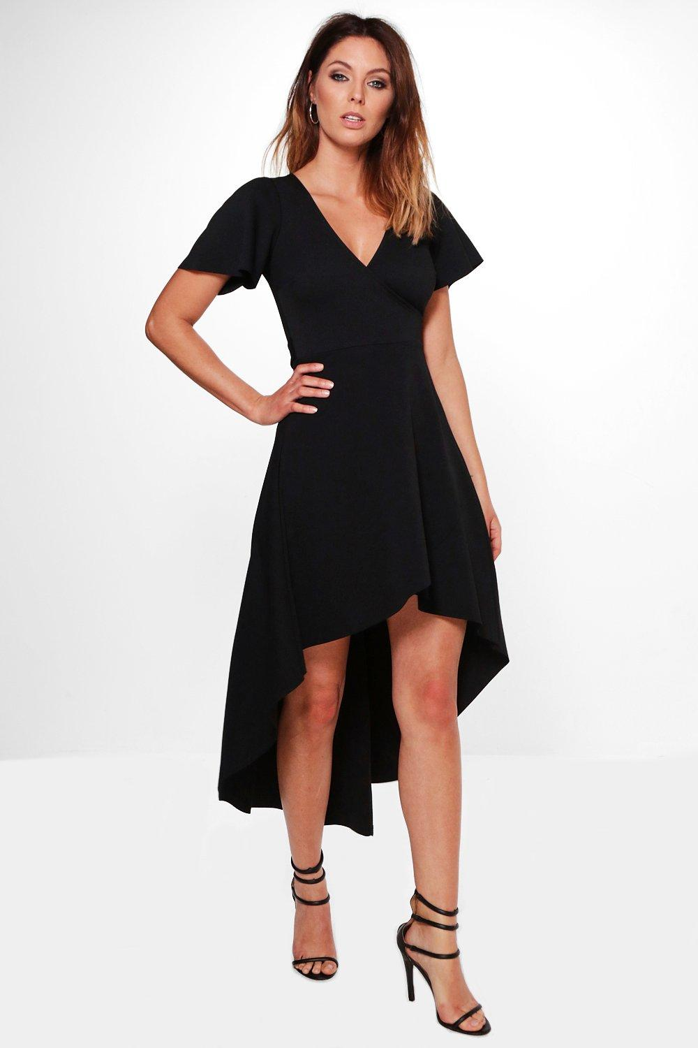 Crepe Angel Sleeve High Low Skater Dress  black