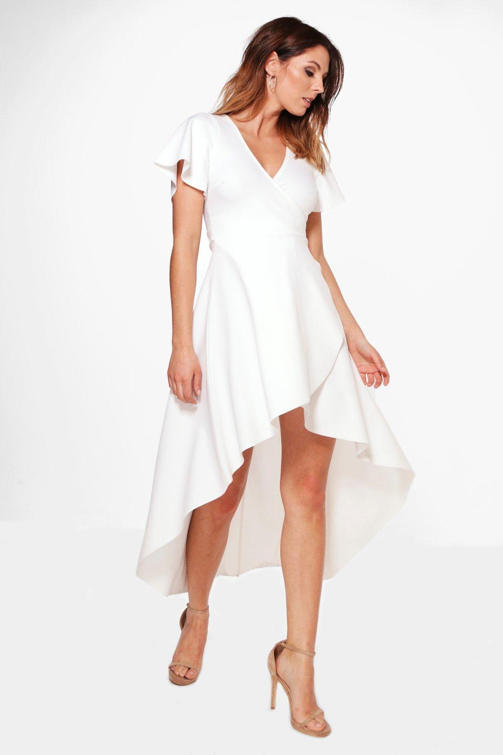 Crepe Angel Sleeve High Low Skater Dress  ivory