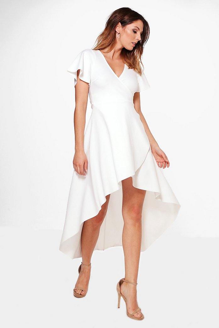 Aubrey Crepe Angel Sleeve High Low Skater Dress
