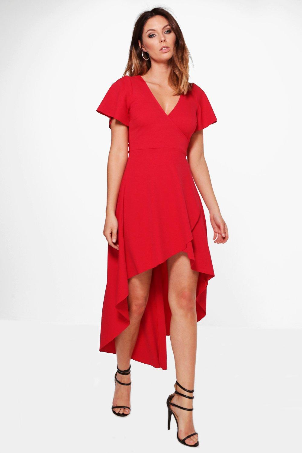 Crepe Angel Sleeve High Low Skater Dress  red