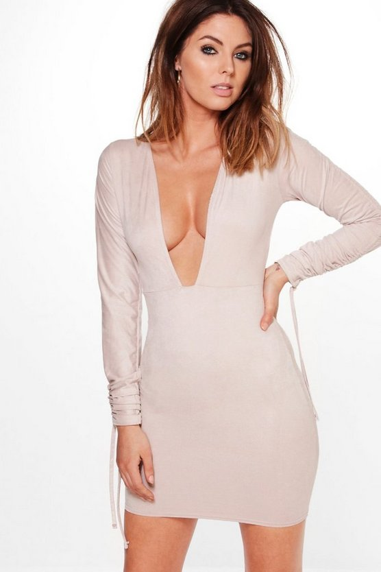 Mia Suedette Ruched Tie Sleeve Bodycon Dress