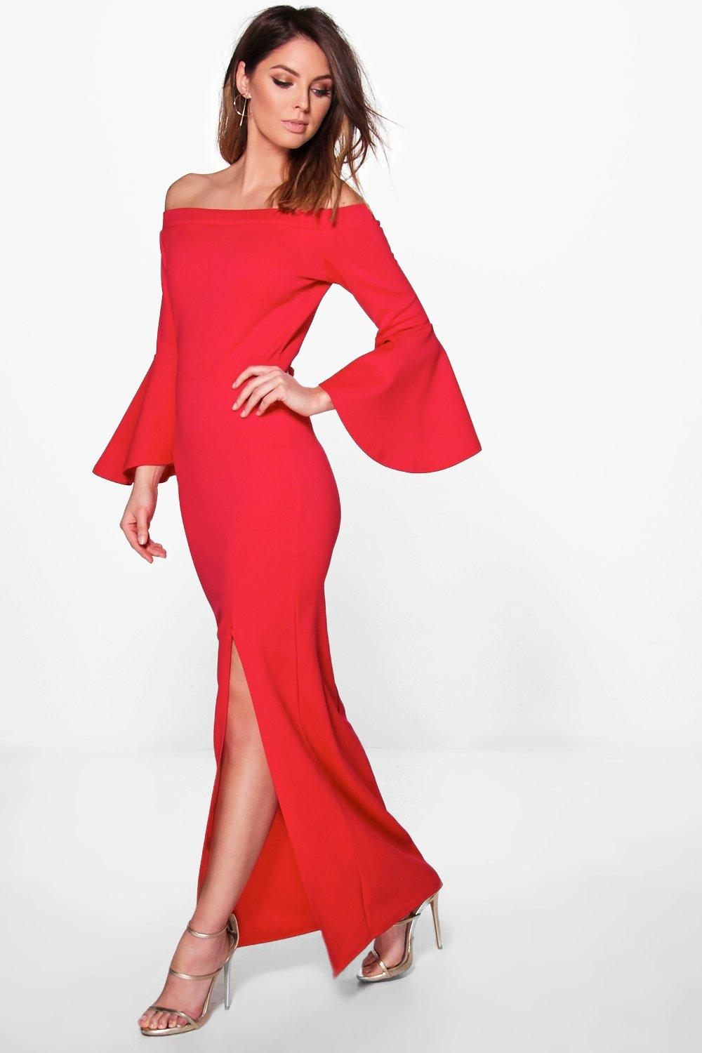 Flute Sleeve Off The Shoulder Maxi Dress  red