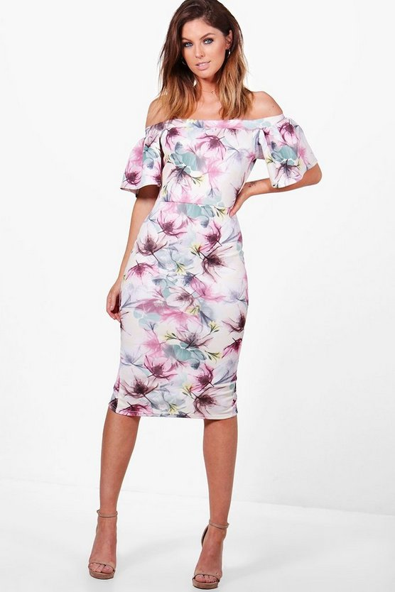 Maddison Frill Sleeve Off The Shoulder Floral Midi Dress