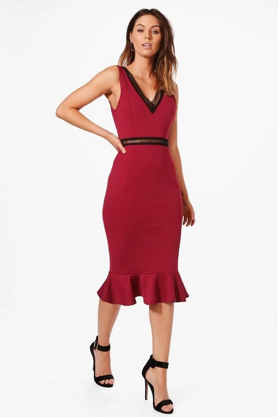 Rebecca Ladder Trim Detail Peplum Hem Midi Dress