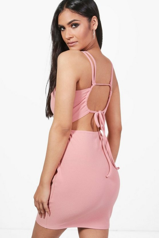 Violet Crepe Strappy Back Detail Bodycon Dress