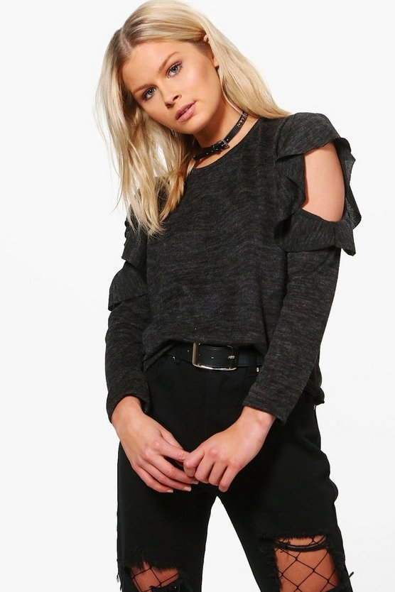Alice Ruffle Cold Shoulder Fine Knit Jumper