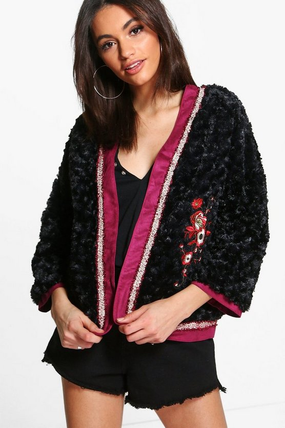 Jenna Boutique Embroidered Faux Fur Jacket