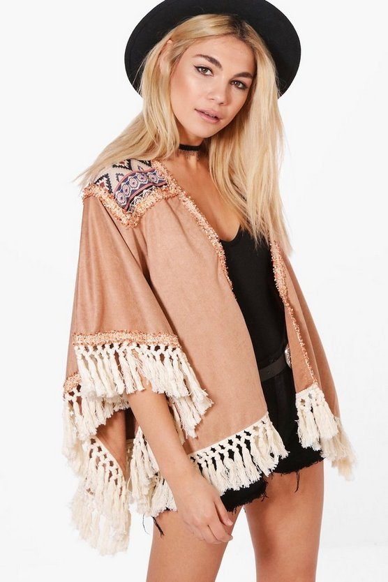 Ella Boutique Embroidered Tassel Suedette Cape